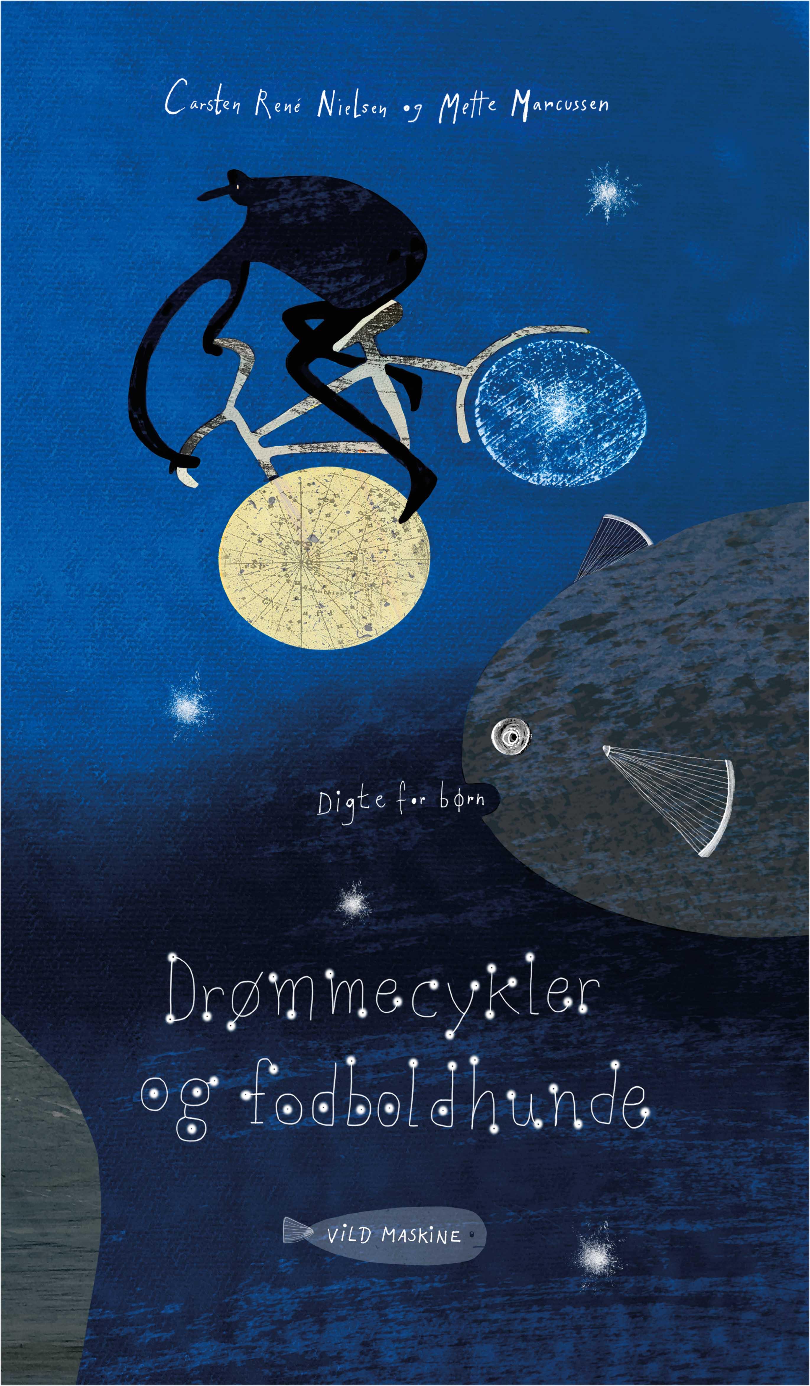 """""""Drømmecykler og fodboldhunde"""", digte for børn af Carsten René Nielsen, illustreret af Mette Marcussen. Udgivelsesdato: 6. december."""