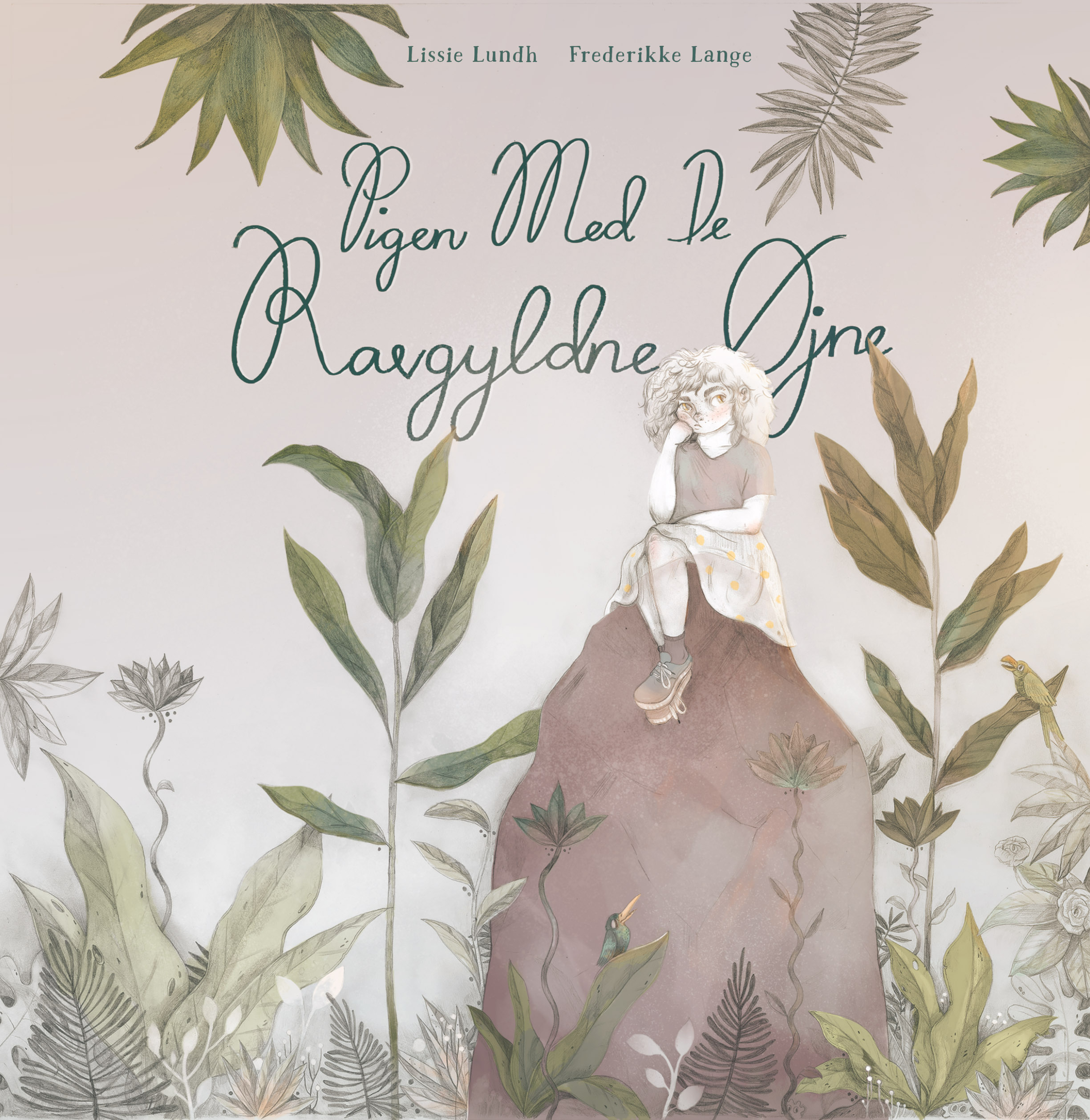 'Pigen med de ravgyldne øjne', cover from 'The girl with amber eyes' illustrated by Frederikke Lange and written by Lissie Lundh.