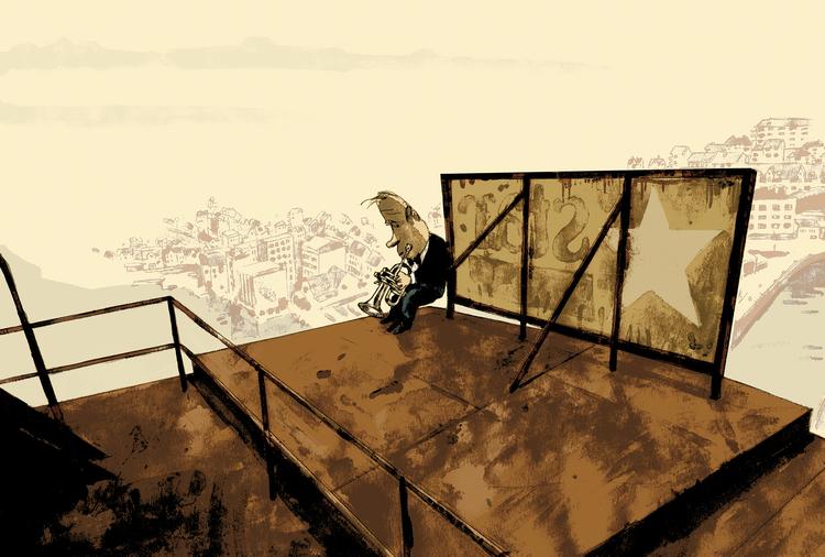 Illustration fra 'Højt over husene' af Marvin Halleraker.