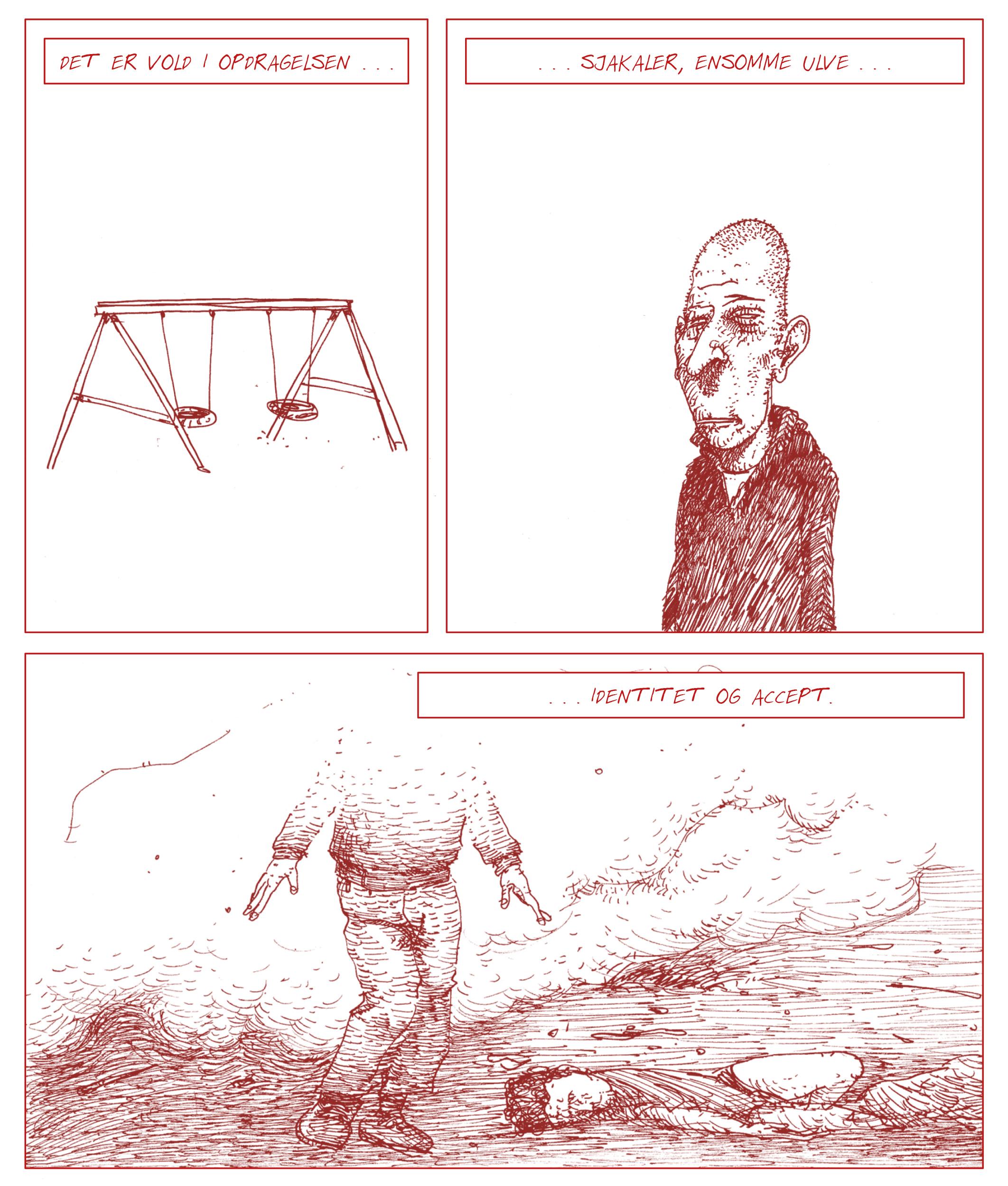 """Side 16 fra """"Terror på hjernen"""", en tegneserie af Jakob Albrethsen, udgivelsesdato: 29. november 2019."""