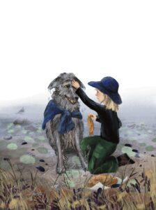 Illustration fra Slimfjorden. Elias og ulven.
