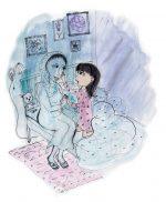 Illustration af Runa Steppinge fra Uden mor, skrevet af Salma Ahmad.