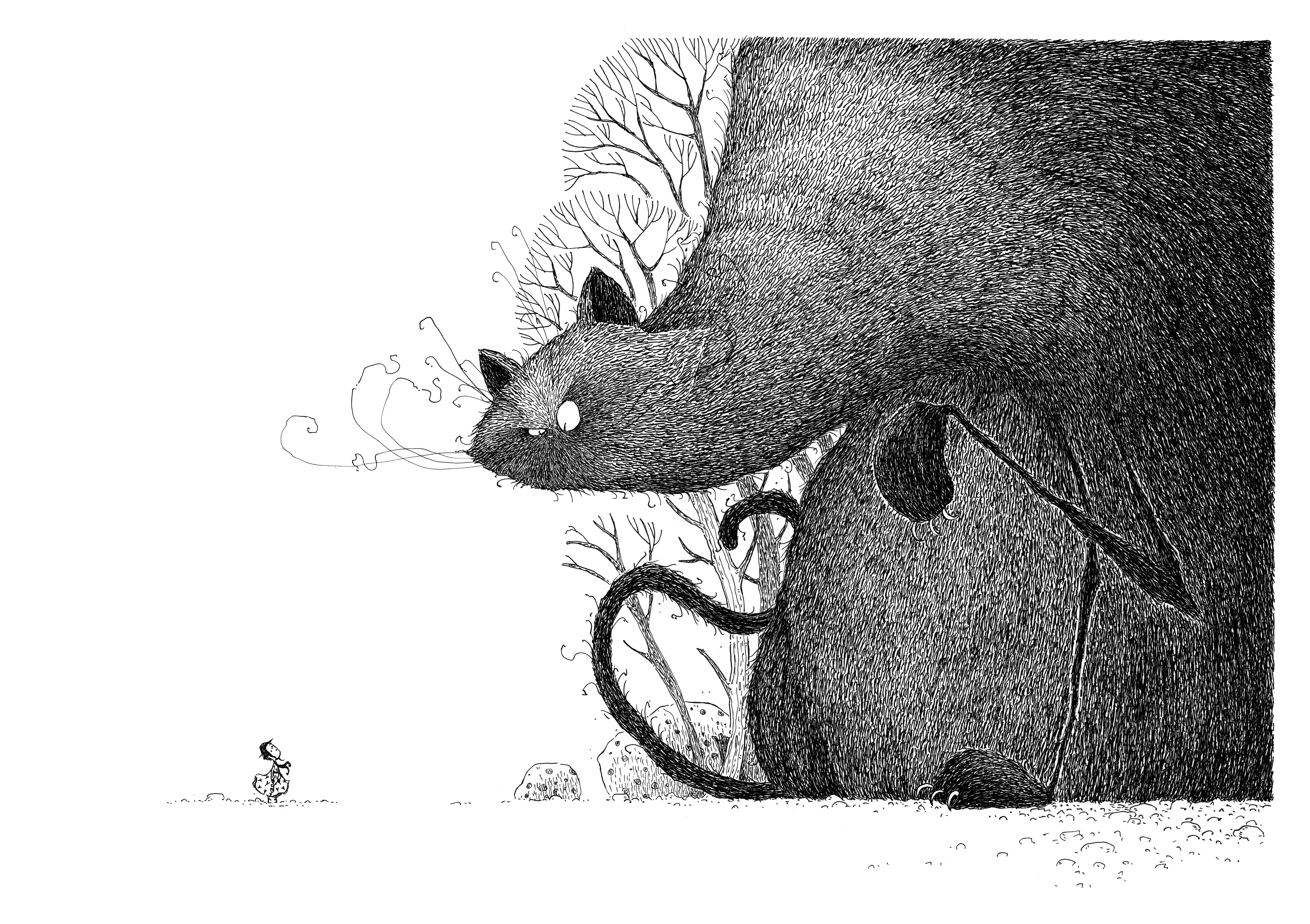 Illustration af Teemu Juhani, fra Katten med den knurrende mave, skrevet af Magdalena Hai. Udgivelsesdato: 19. juli 2021.