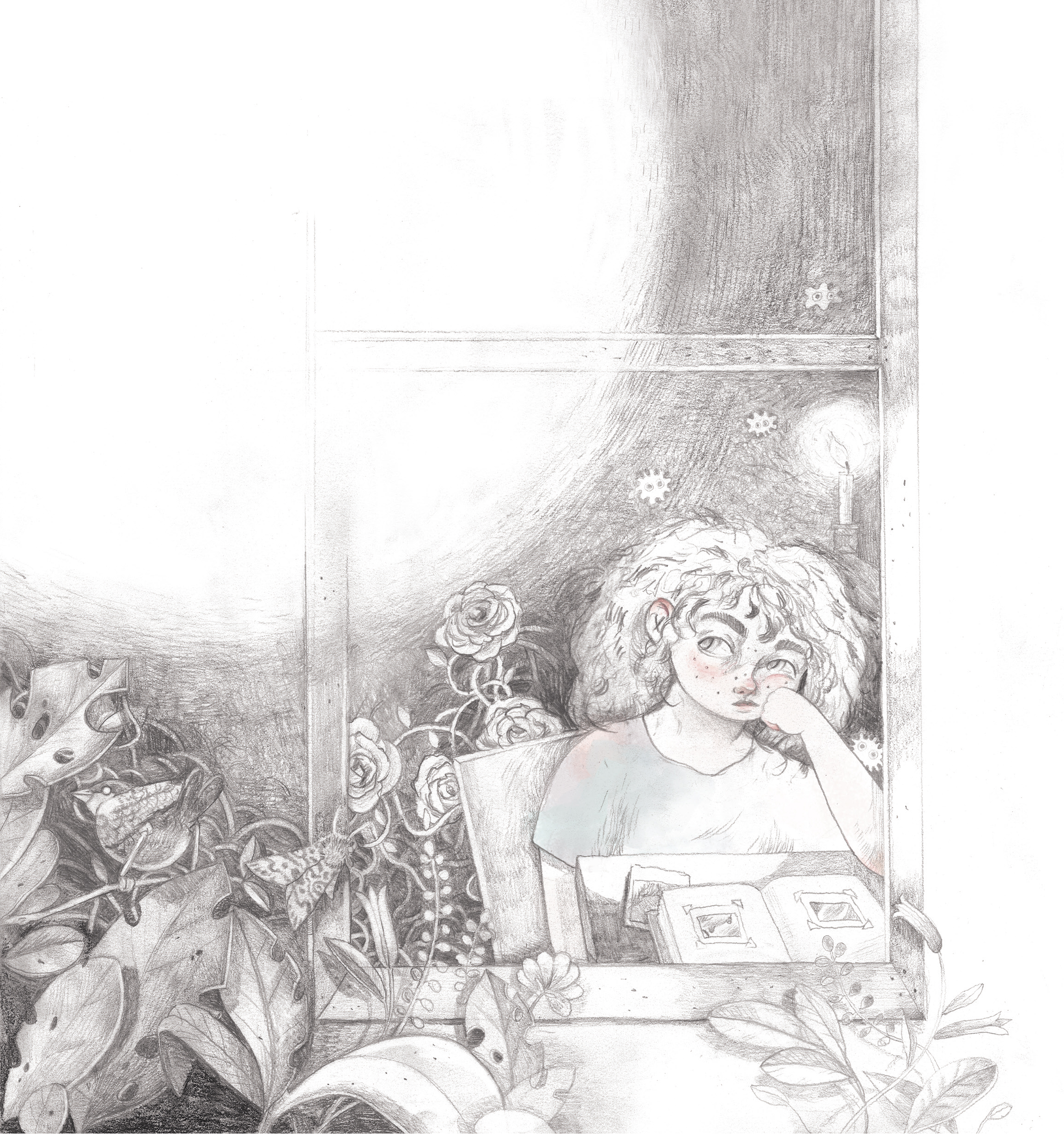 Illustration from 'The girl with amber eyes'illustrated by Frederikke Lange and written by Lissie Lundh.
