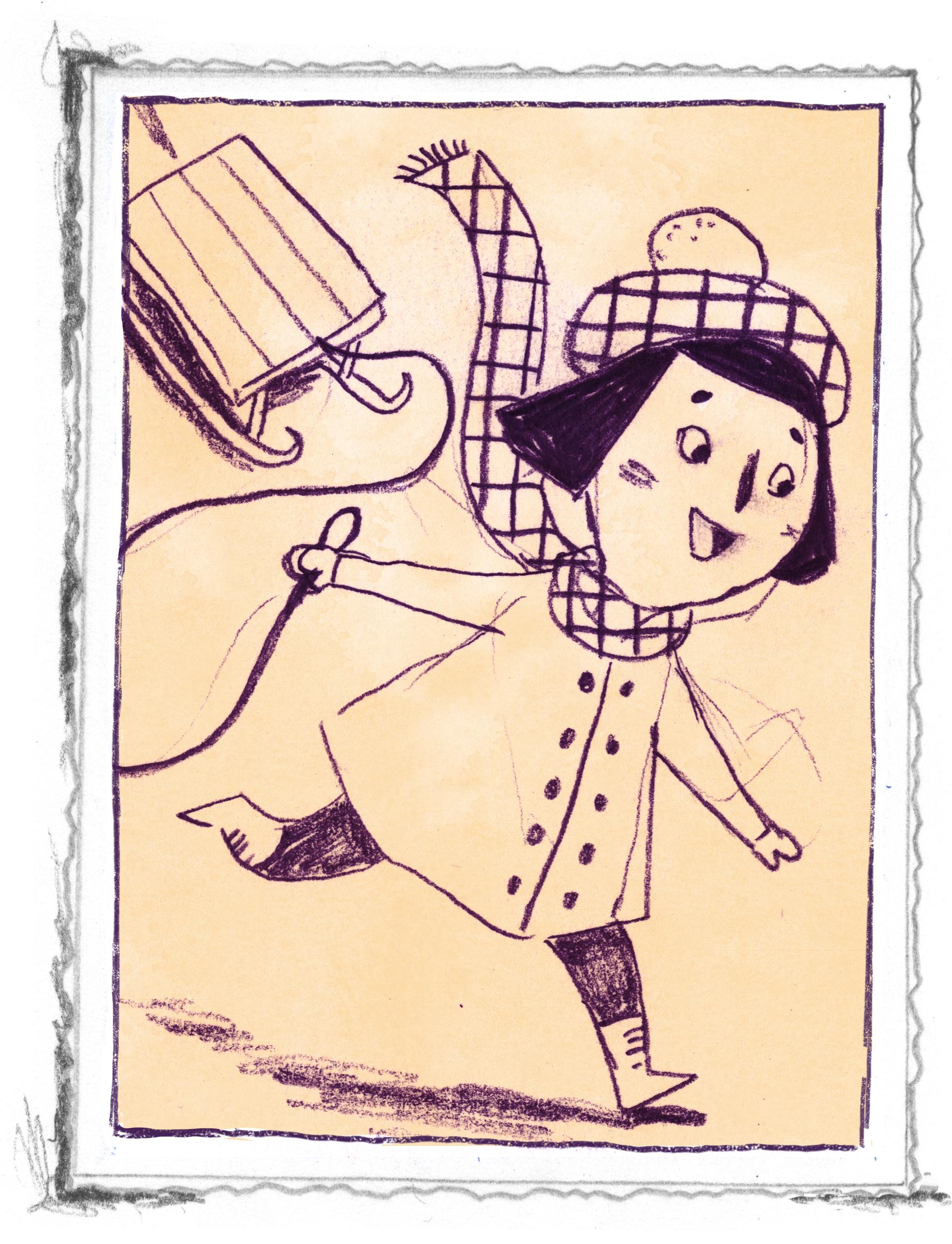 """Tegning fra """"Lillepigen fra Lolland"""" af Line Malling Schmidt, udgivelsesdato: 30. september 2019."""