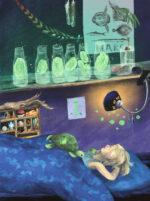 Illustration fra Slimfjorden, Elias på sit værelse med gopler på flasker.